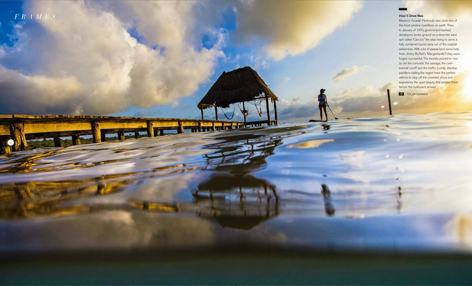 Jacq Smith stand up paddle boards next to a dock around the Yucatan Peninsula in Sup the Mag.