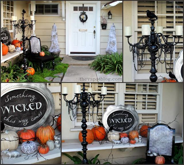 Halloween Porch decor ideas, black and white decor, orange pumpkins, something wicked this way comes