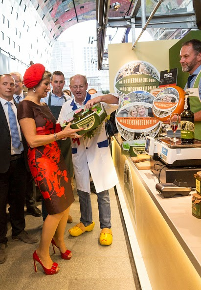 Queen Maxima of The Netherlands attends the opening of the new Markthal on 01.10.2014 in Rotterdam, Netherlands. The horseshoe-shaped arch is the first indoor fresh food market in The Netherlands while its walls and roof are 228 appartments