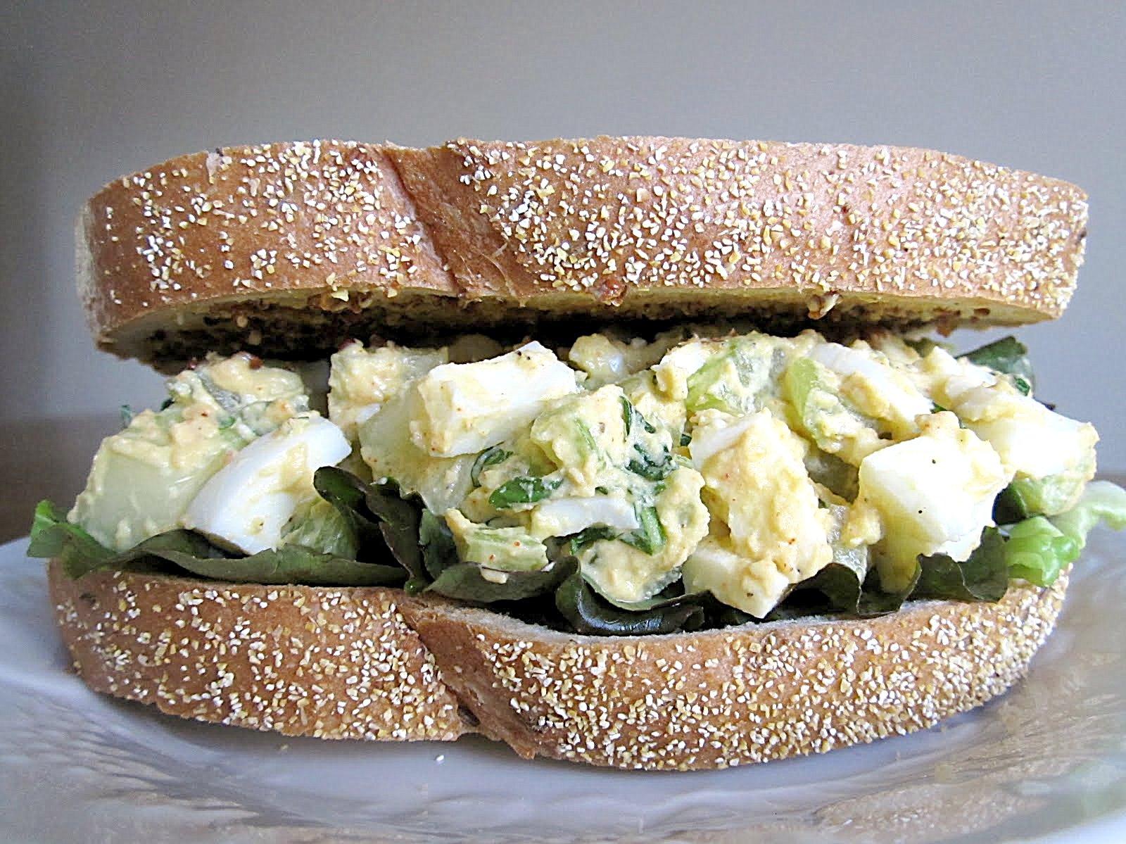 Chomping Board: Basil cucumber egg salad sandwich