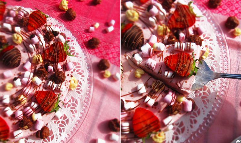 ♥ Juhlava mansikka-suklaajuustokakku