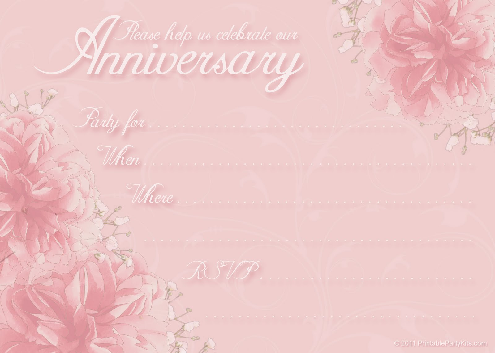 Click on the free printable anniversary invite to the right to see it ...