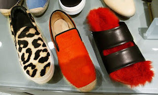 Céline furry Birkenstock-esque sandals and slip on espadrilles.