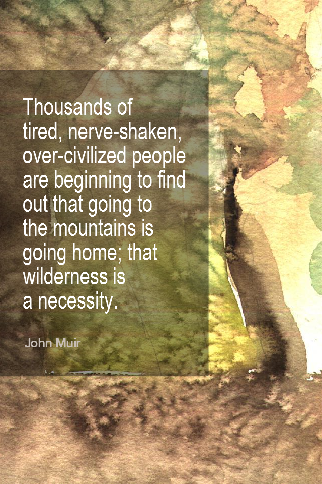 visual quote - image quotation for NATURE - Thousands of tired, nerve-shaken, over-civilized people are beginning to find out going to the mountains is going home; that wilderness is a necessity. - John Muir