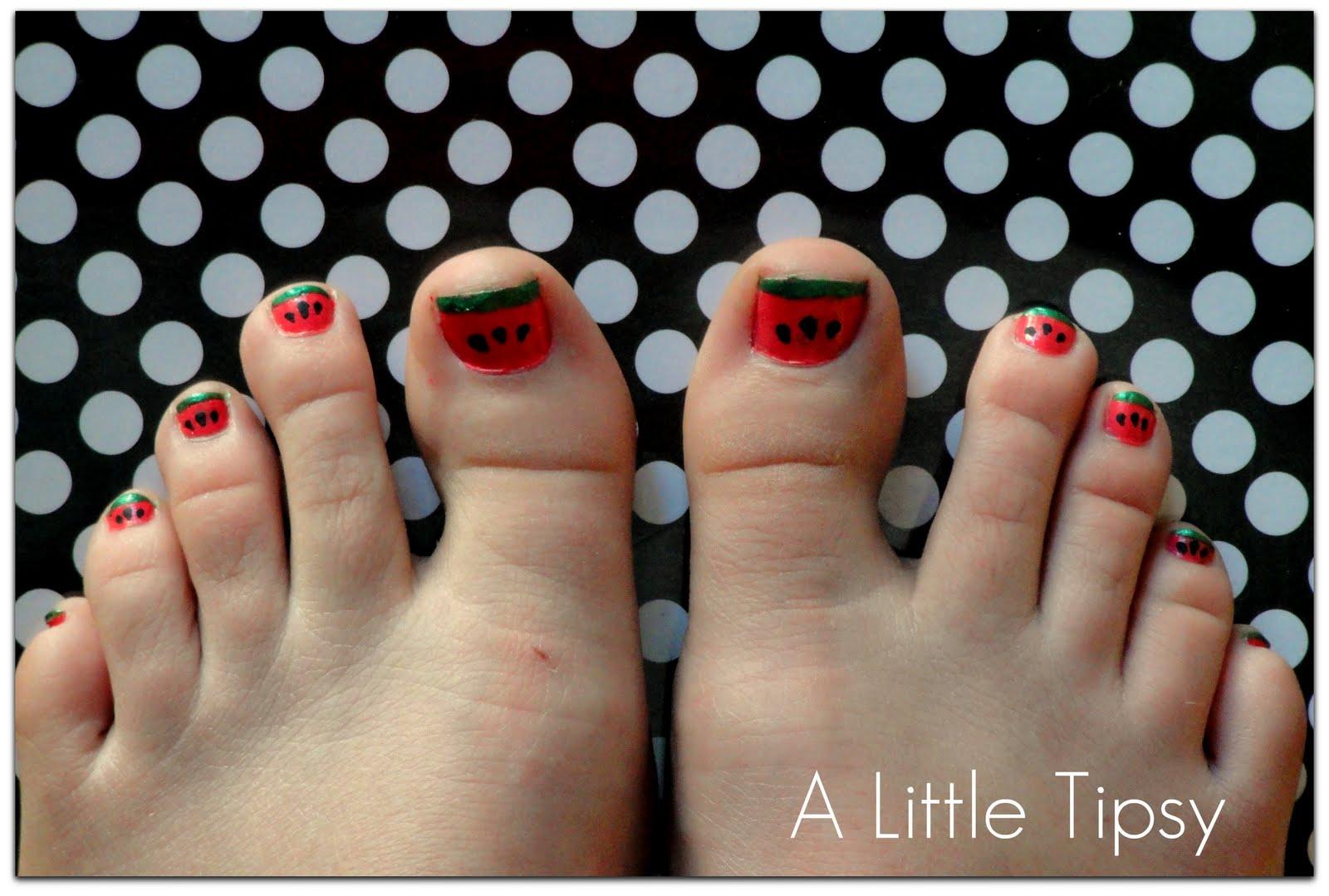 DIY Under $5 {Watermelon Toenails} - A Little Tipsy