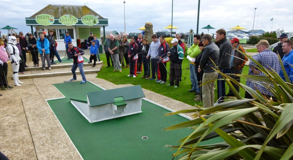 Richard Gottfried playing hole 2 at the 2014 World Crazy Golf Championships in Hastings