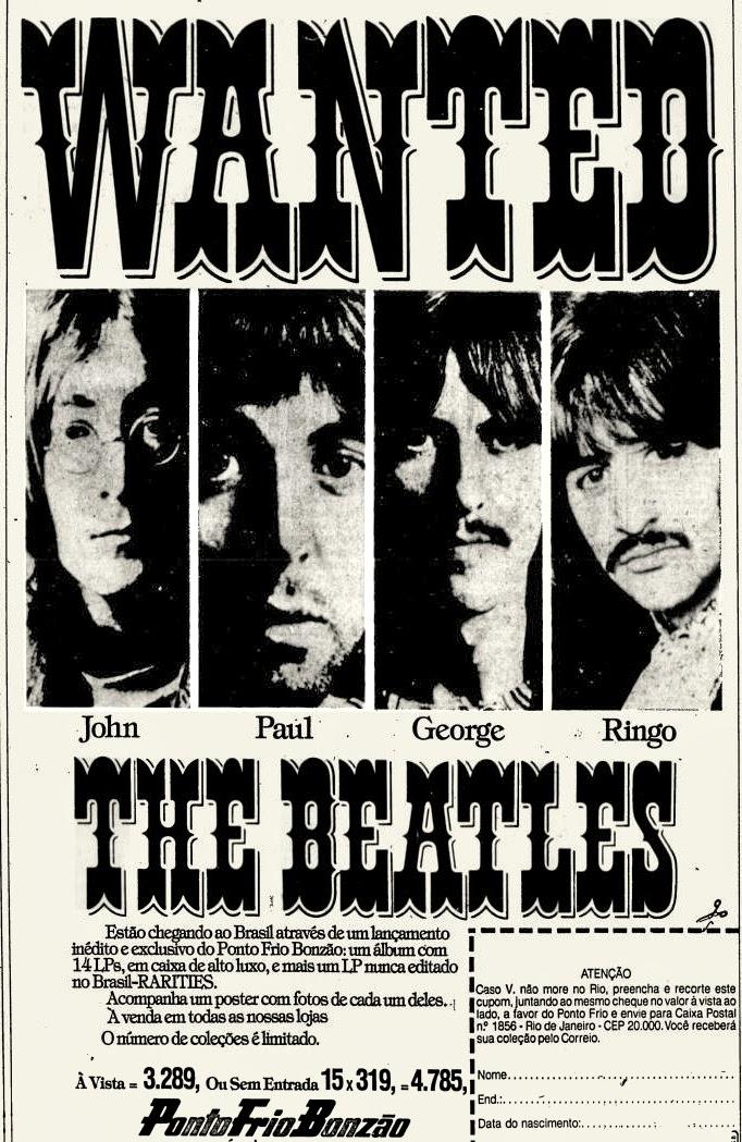 The Beatles. anos 70. Oswaldo Hernandez. propaganda anos 70. Reclame anos 70