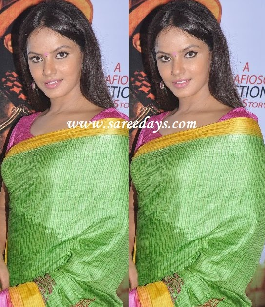 Latest saree designs neetu chandra in green bhagalpuri silk saree checkout actress neetu chandra in green bhagalpuri silk saree with yellow border and paired with pink matching blouse altavistaventures Images