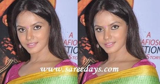 Latest saree designs neetu chandra in green bhagalpuri silk saree altavistaventures Images