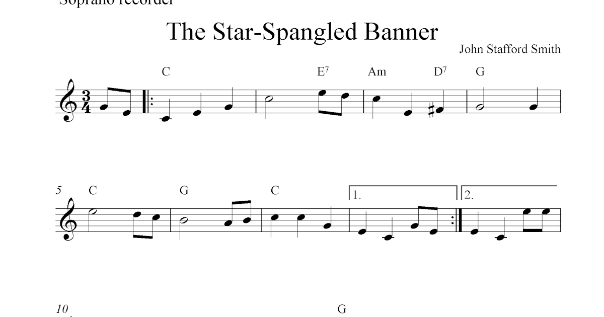 The Star-Spangled Banner, free soprano recorder sheet music notes