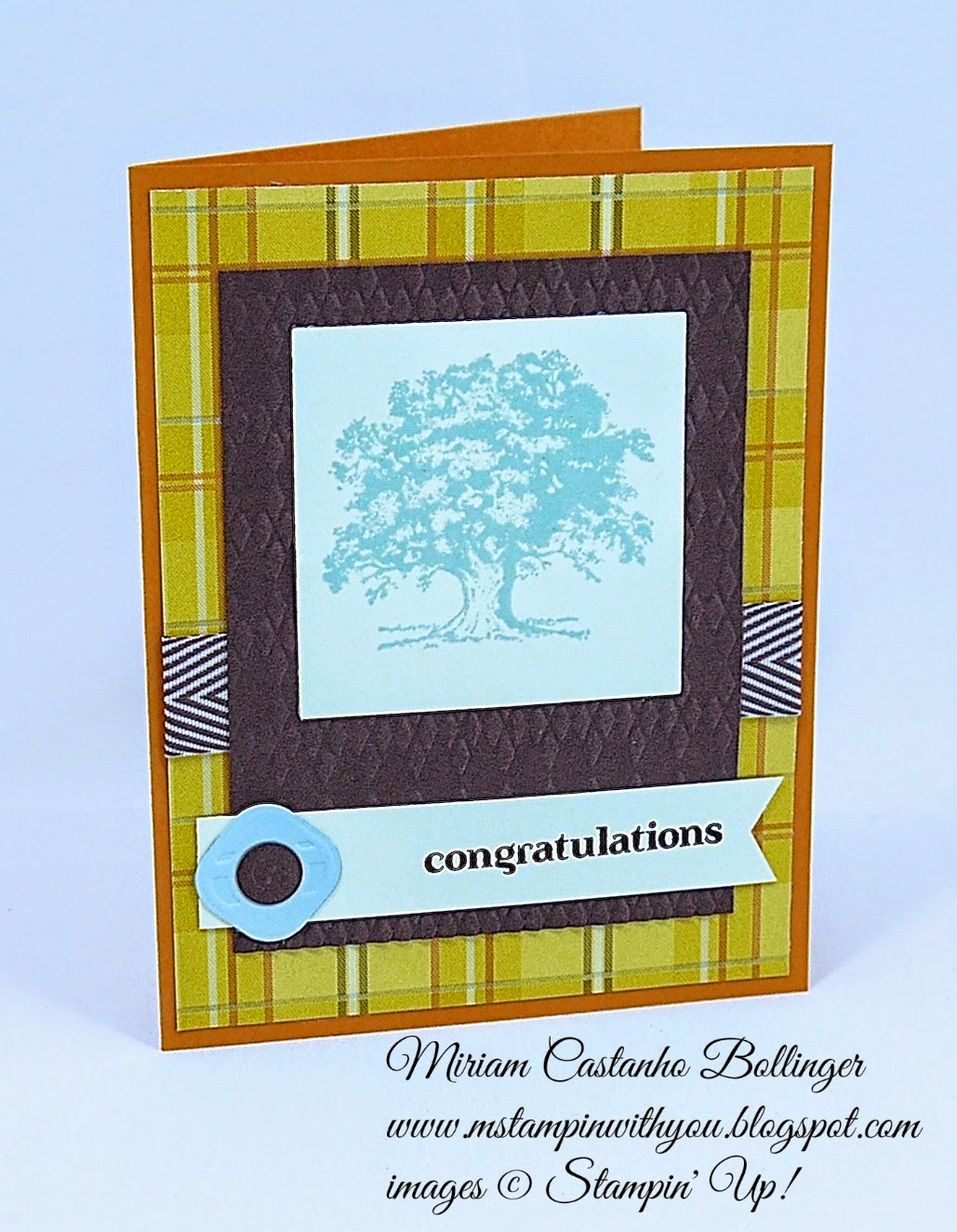 Mojo MOnday 358, Miriam Castanho Bollinger, #mstampinwithyou, stmapin up, demonstrator, masculine card, lovely as a tree, delightful dozen, little pieces embosslits, squares collection, su