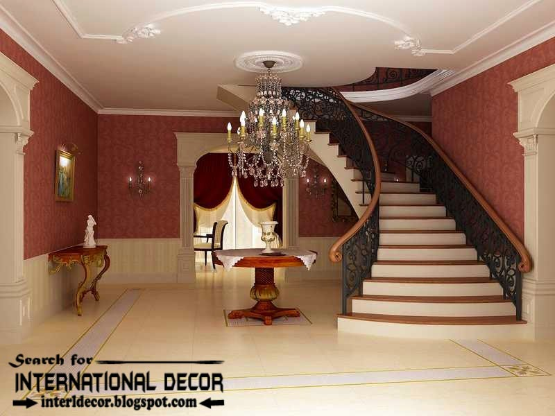 classic English style in the interior, English interior staircase and ceiling moldings