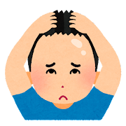 髪の生え際を気にする人のイラスト