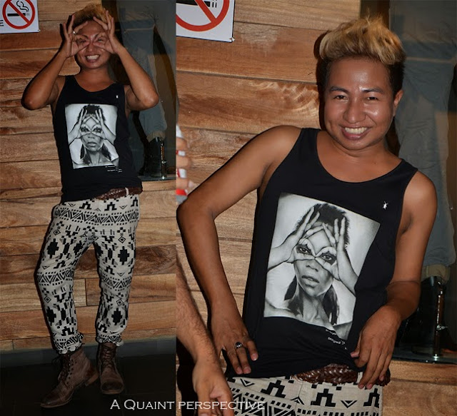 Meitie wears an geometric print pants with beyonce t-shirt print.