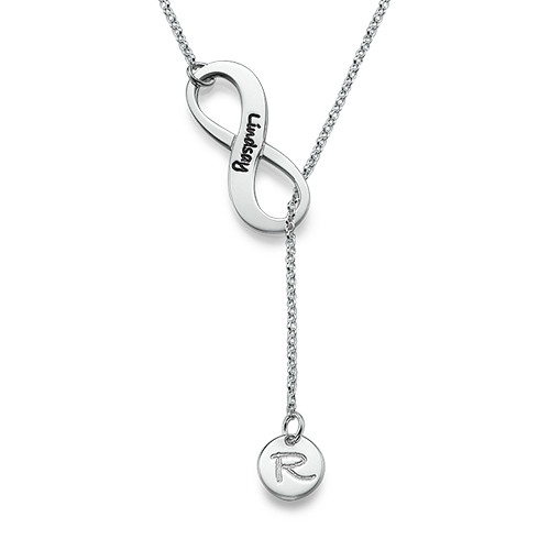 Infinity Y Shaped Necklace with Initial Pendant