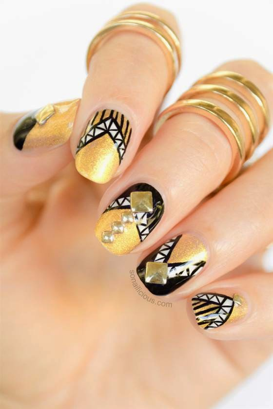 Nail sidenail side indulge your inner rock star with so nailiciouss pyramid stud pattern which begs to be worn with something leather we love that each nail is a little bit prinsesfo Choice Image