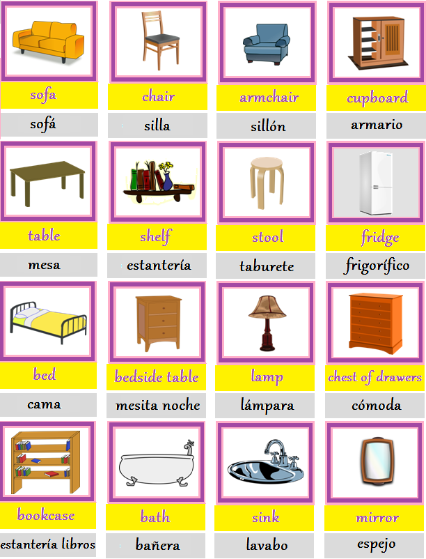 Aprende ingl s for Muebles en ingles
