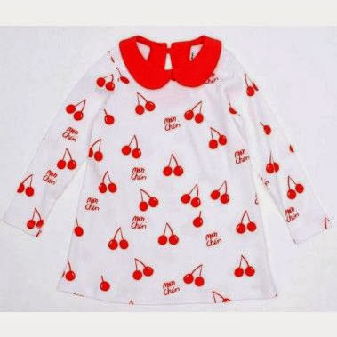 Child's cherry print Christmas dress