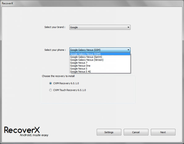recoverx option menu