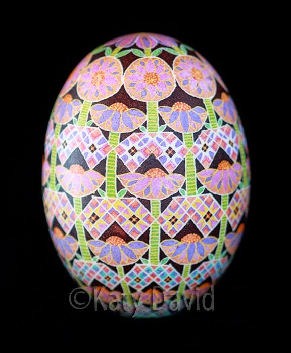 ©Katy David Echinacea Goose Egg Pysanky