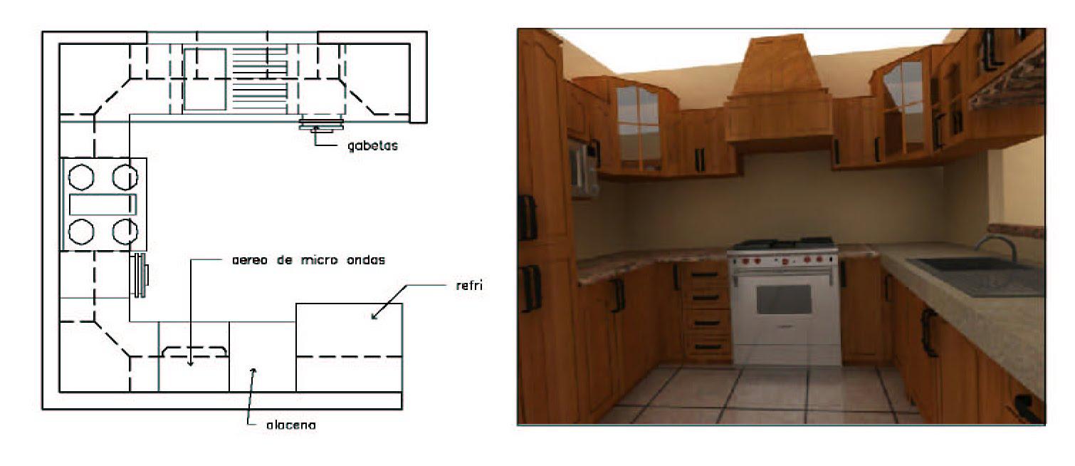 Dise o de cocinas en 3d fotorealismo planos dise o de for Planos de cocina en 3d