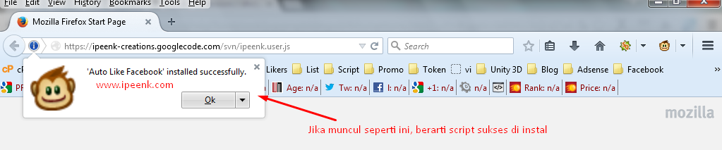 Sukses Menginstal Script Bom Like Facebook - www.ipeenk.com