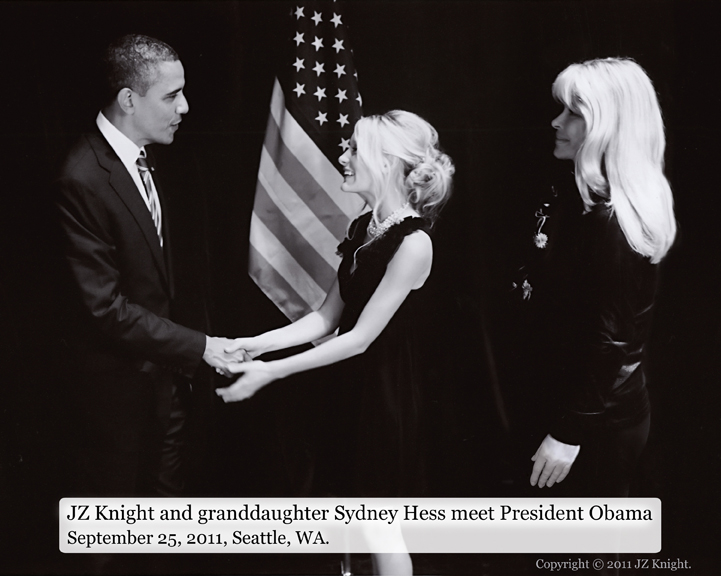 JZ Knight with her granddaughter and President Obama
