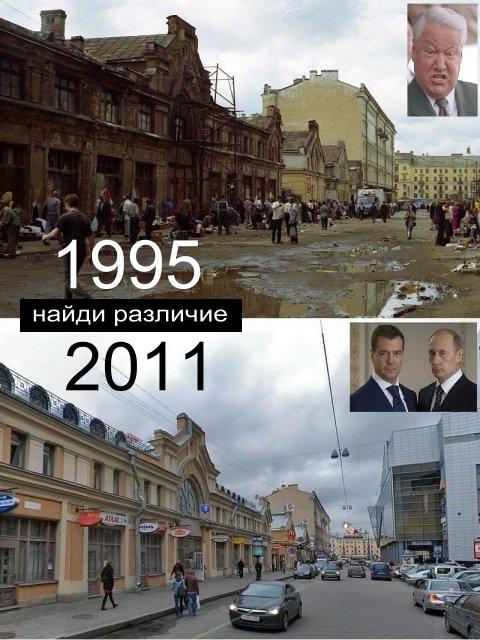 1995-2011 найди различие - Ельцин - Путин : Было и стало