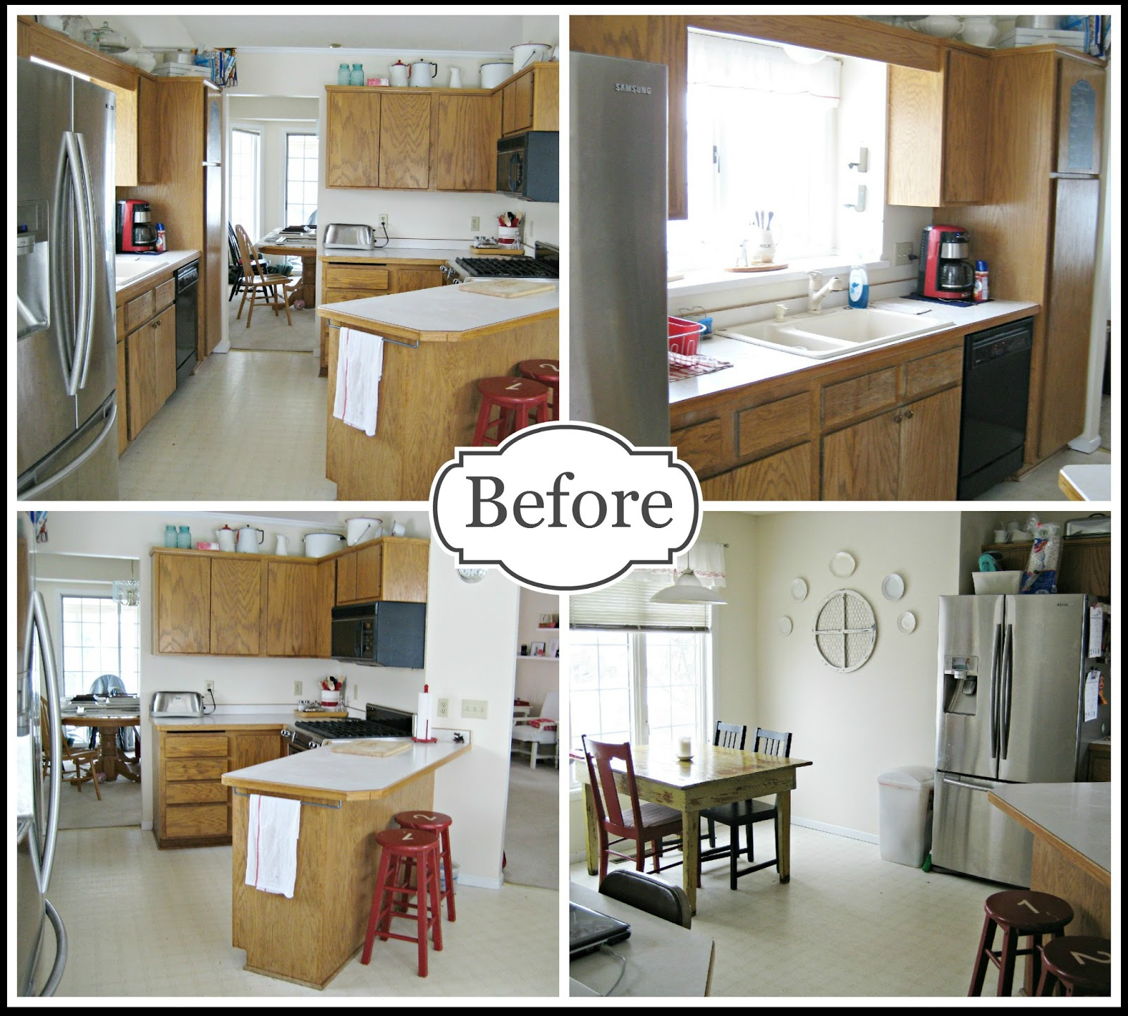 Happy at home completed kitchen makeover for Kitchen designs for odd shaped rooms