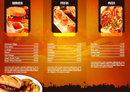 Psd Tri Fold Restaurant Brochure