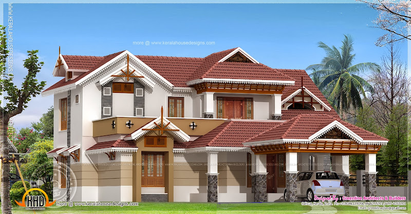 Traditional home design in 255 square meter title=