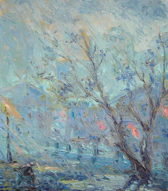 Иван КРУТОЯРОВ. Вечерний ливень. Импрессионизм, городской пейзаж, вечер, дождь, ливень, человек под дождем, осень, одиночество, настроение,  дерево, грусть, песня дождя, ночь, ночной фонарь, пустота, символизм.