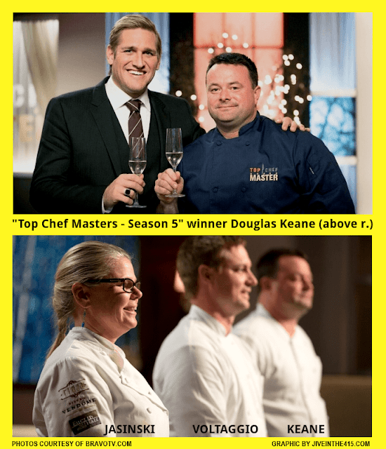 Top Chef Masters Season 5 winner chef Douglas Keane and host Curtis Stone, Jennifer Jasinski, and Bryan Voltaggio.