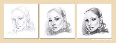 étapes de dessin du portrait de femme