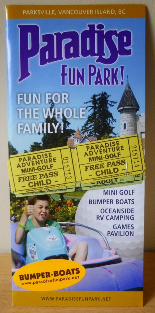 The brochure for Paradise Fun Park on Vancouver Island, British Columbia, Canada
