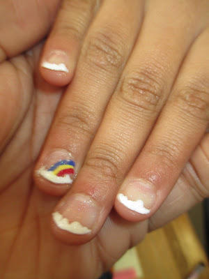 little girl, cutepolish, tutorial, rainbow, clouds, french, frenchie, nails, nail art, nail design, mani