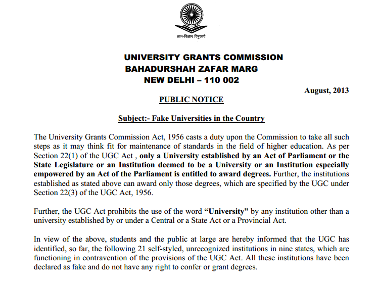 Fake Universities in the India Notify By UGC in Aug 2013