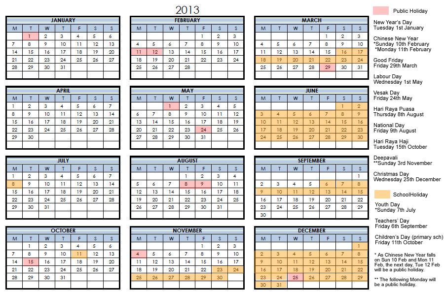 Calendar Singapore : Lily lee singapore calendar
