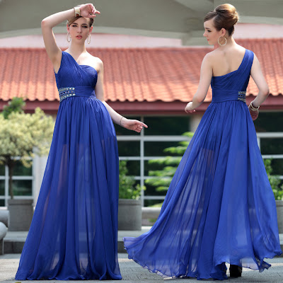 Royal Blue One Shoulder Floor Length Dress