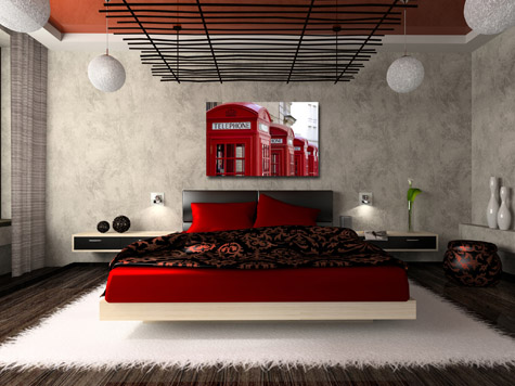 Special Red Bedroom Interior Design