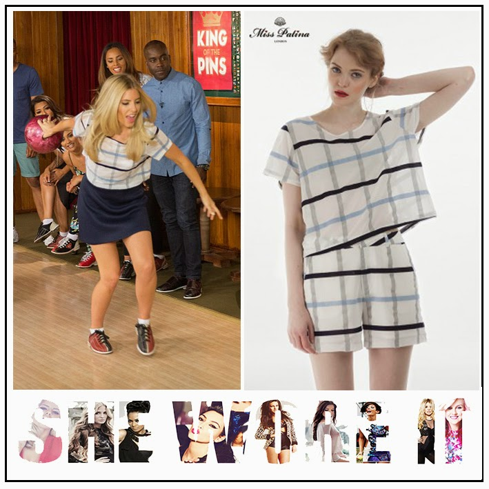 Blue, Check Print, Crop Top, Grey, Line Print, Miss Patina, Mollie King, Navy Blue, Short Sleeve, The Saturdays, Top, White,