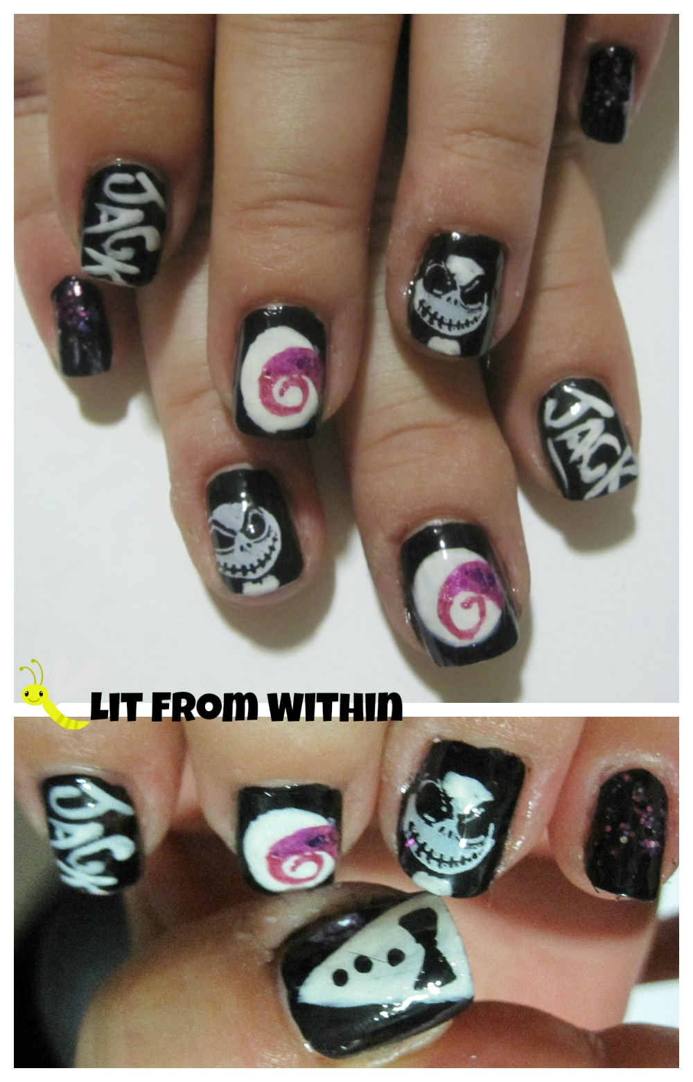 'Nightmare Before Christmas' Jack Skellington nail art