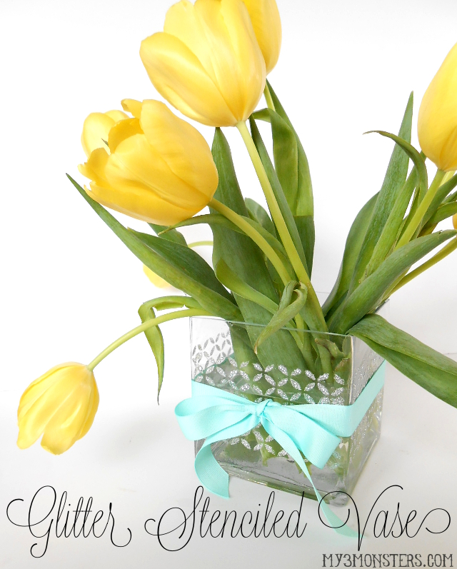My 3 Monsters Easy Glitter Stenciled Vase With New Mod Podge