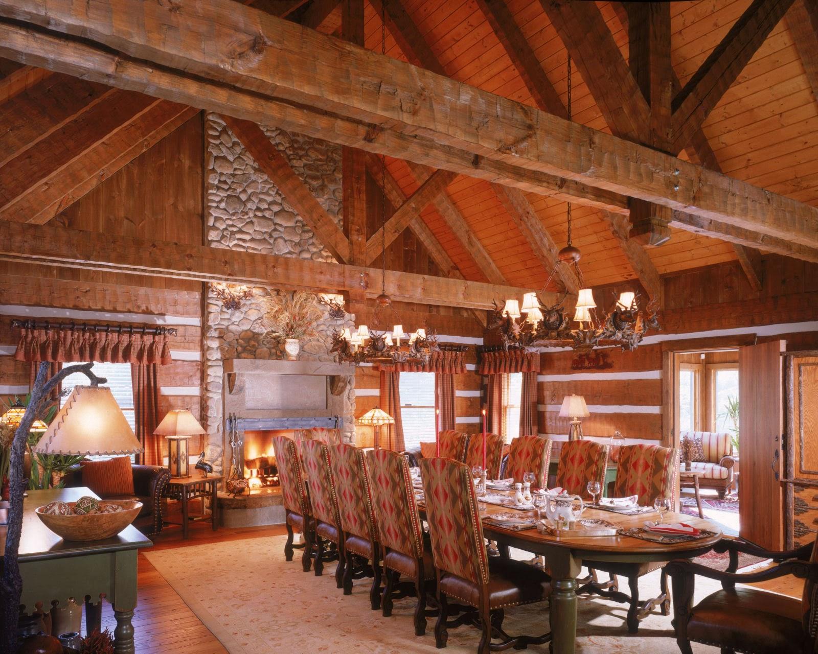 Log Cabin Dining Room Kitchen