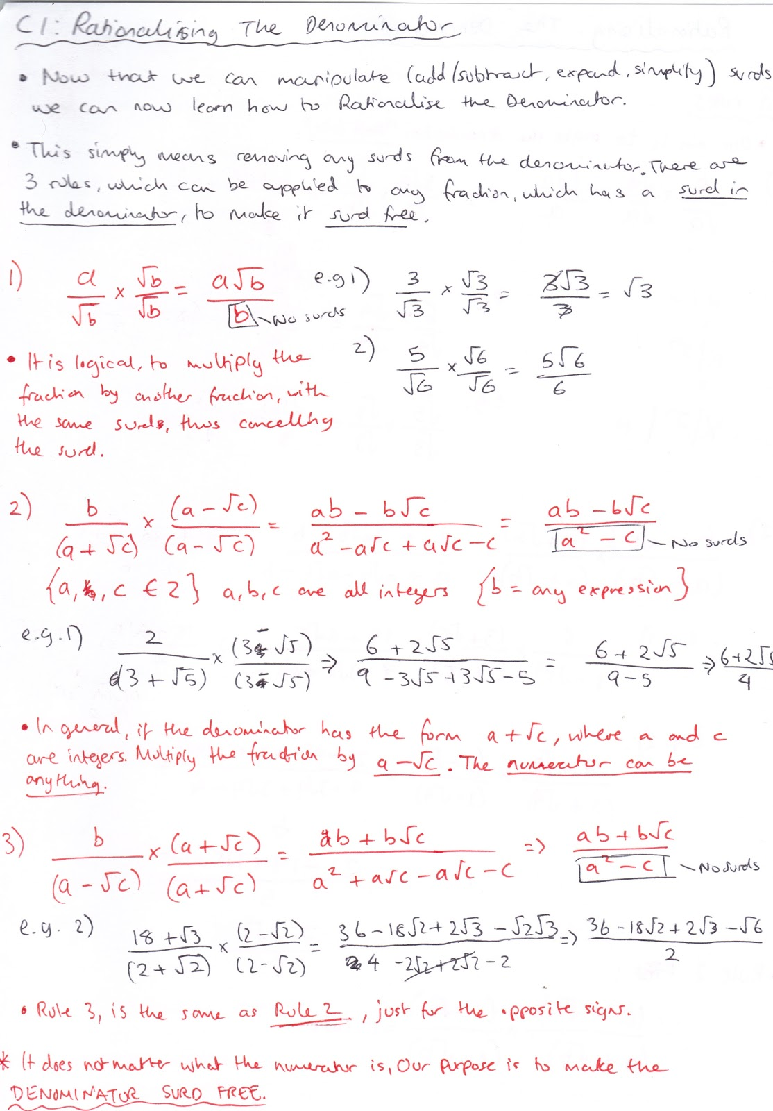 Rationalise Denominator Notes