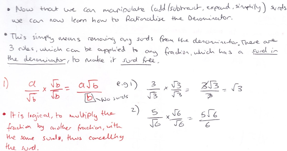 A Level Mathematics C1 Algebra And Functions Rationalising The