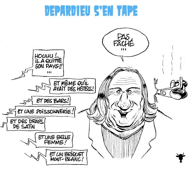 caricature, dessin, gérard depardieu, exil fiscal, néchin, belgique