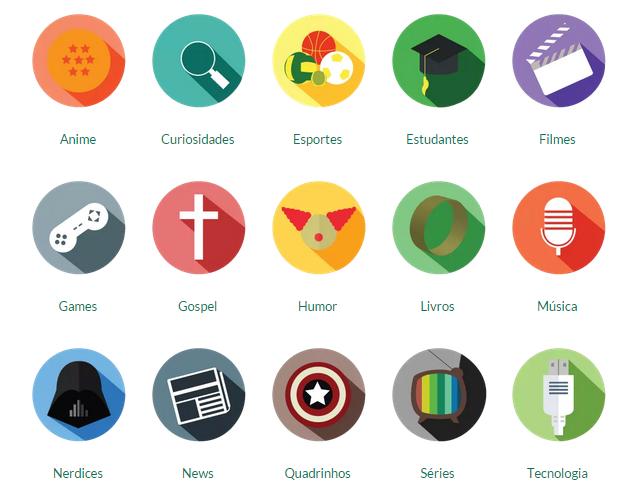 Categorias que a Geek Brasil dispõe