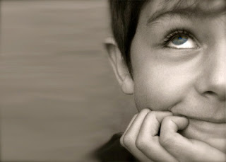Thinking Kid, black and white