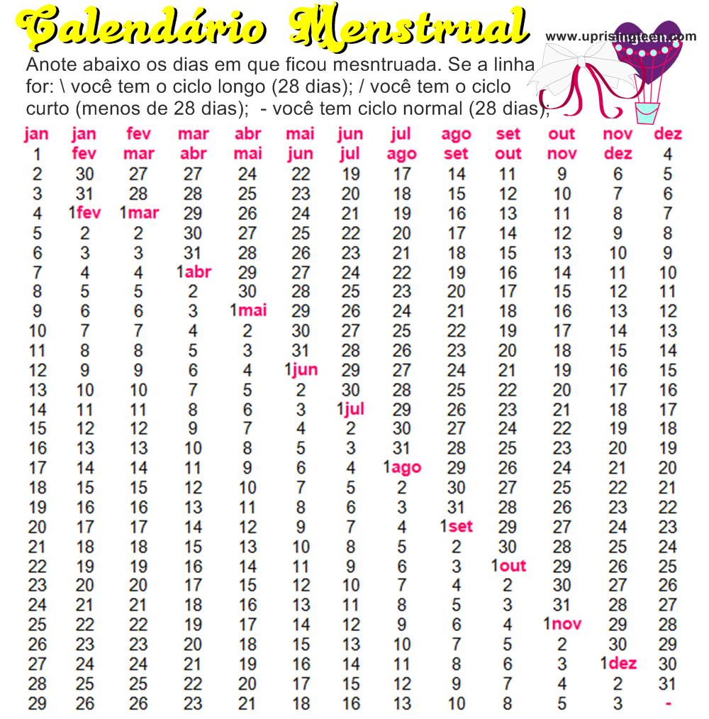 Printable Menstrual Calendar 2015 | Calendar Template 2016